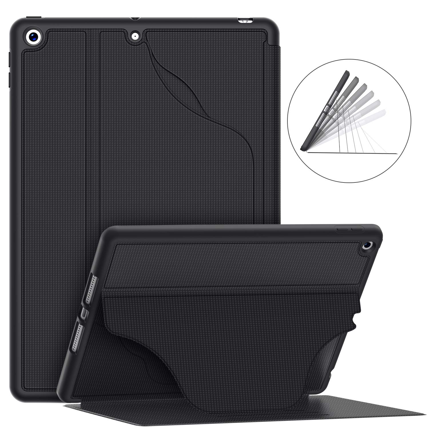 "Soke Luxury Series Case for iPad 7th Generation 10.2"" 2019- [Built-in Pencil Holder + 6 Magnetic Stand Angles + 360 Full Protection + Premium PU Leather] - Sleep/Wake Cover for iPad 10.2 Inch, Black"
