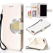 UEEBAI Wallet Flip Case for iPhone Xs X, Glitter PU Leather Cover with Mirror [Diamond Buckle] [Card Slots] [Magnetic Clasp] Stand Function Rhinestones Soft TPU Case for iPhone X/XS - White