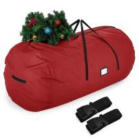 Sunkorto Christmas Tree Storage Bag Fits up to 9 ft Tall Artificial Tree, 600D Oxford Tear-Resistant Holiday Xmas Bag with Durable Handles, Sleek Dual Zipper & Card Slot, Round Shape, Red