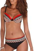 CPUTAN Floral Print Women's Tankini Swimwear Bandeau Padded Bikini Set Two Piece Swimsuits Shorts