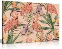 Exotic Botanical Jungle Vintage Boho Style Canvas Wall Art Picture Print (12x8)