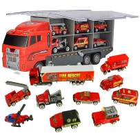 Jenilily Fire Trucks for Boys Vehicle Container Car Toys Set Mini Children Kids Firetrucks Ambulance Toy (11 in 1 red)