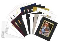 Golden State Art, Pack of 25 Complete Set, Mix Colors 8x10 Double Mat for 5x7 Photo Pictures with White Core Bevel Cut Mattes. Includes 25 Acid Free Double Mats & 25 Backing Board & 25 Clear Bags