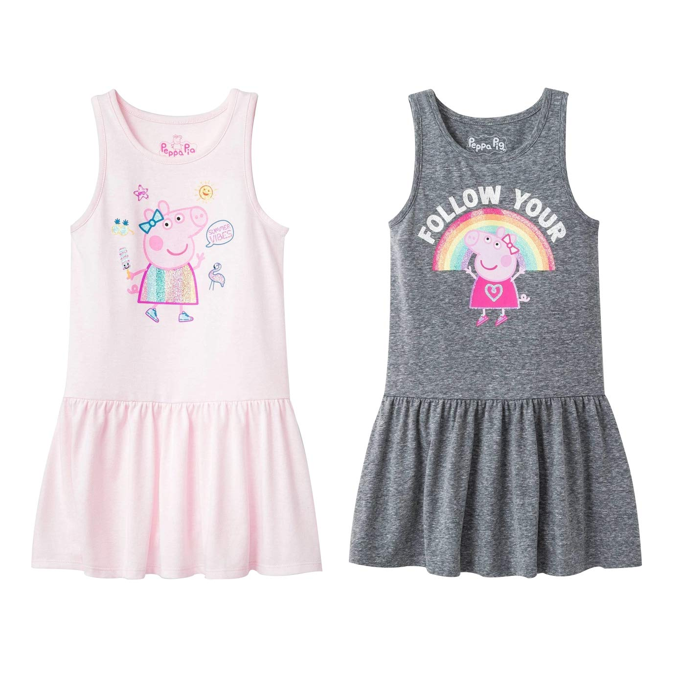 Peppa Pig Toddler Girls 2 Pack Graphic Jersey Dress Pink and Grey