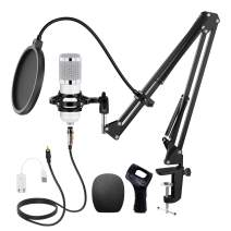 Huryfox Podcast Condenser Microphone Kit Professional Cardioid Studio Mic Bundle with Adjustable Scissor Arm Stand, Shock Mount and Pop Filter for Recording/Gaming/Streaming