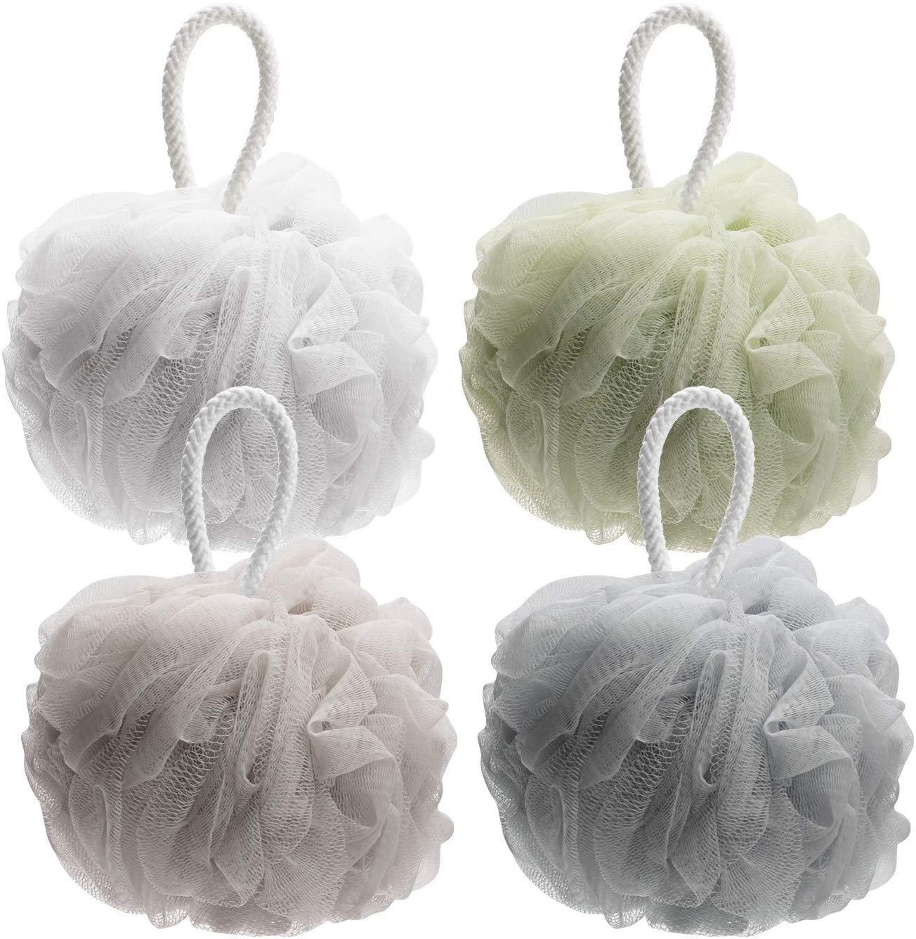 AmazerBath Shower Bath Sponge Shower Loofahs Balls 60g/PCS for Body Wash Bathroom Men Women- Set of 4 Pack (Neutral Colors)