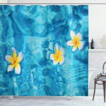 """Ambesonne Hawaiian Shower Curtain, Tropical Frangipani Flower Floating in Water Pool Summertime Ecofriendly, Cloth Fabric Bathroom Decor Set with Hooks, 70"""" Long, Blue Yellow"""