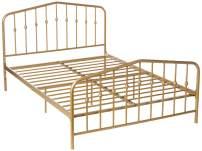 Novogratz Bushwick Metal Bed, Modern Design, Full Size - Gold