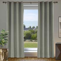 """cololeaf Window Treatment Grommet Faux Linen Blackout Curtains for Living Room Thermal Insulated Room Darkening Textured Linen Curtains for Bedroom, Light Gray 84"""" W x 84"""" L Inch (1 Panel)"""