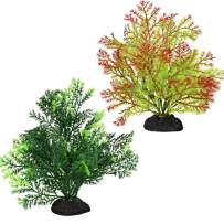 Bosmarlin Artificial Fish Tank Plants, Plastic Aquarium Plant, 2 Pack, Non-Toxic&Soft, Safe for Fish (C)