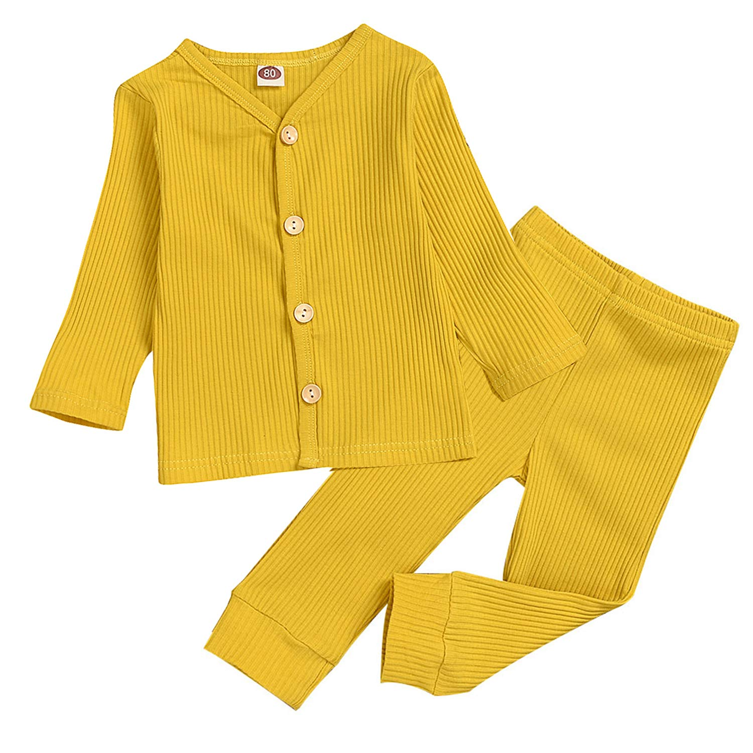 Baby Boy Girl Pajamas Set Knitted Button Top+Long Pants Set Sleepwear Fall Winter Clothes Outfit