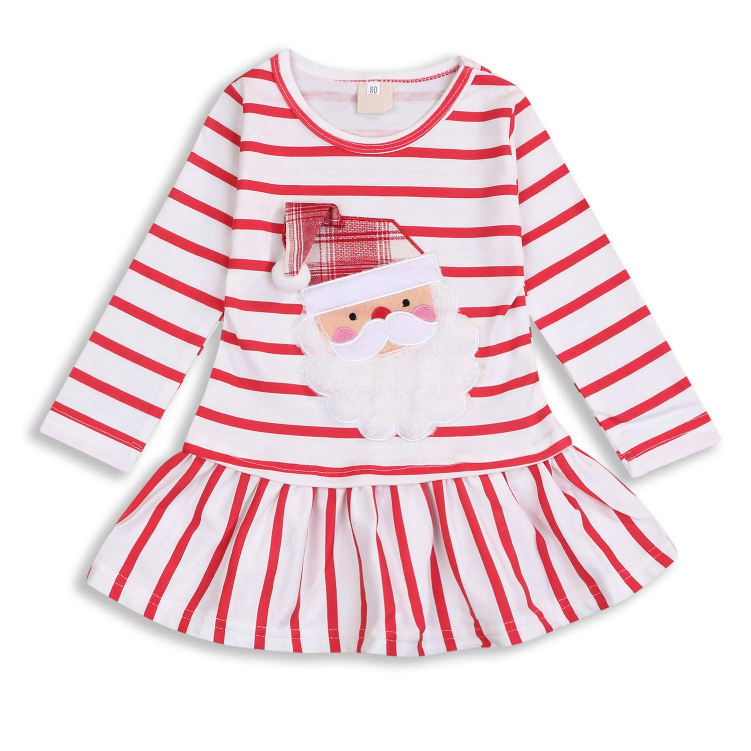 Christmas Toddler Baby Girls Santa Claus Print Dress Long Sleeve Striped Skirt One-Piece Clothes Set