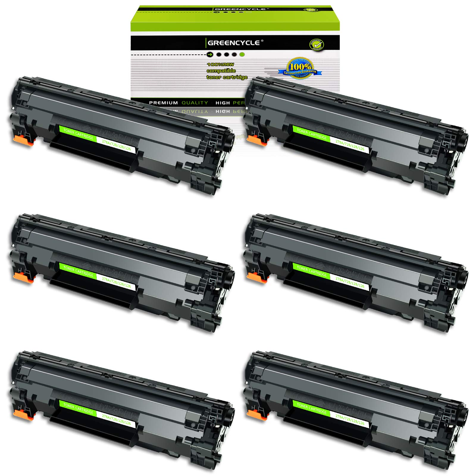 GREENCYCLE 6 Pack 78A CE278A Black Laser Toner Cartridge Compatible for Laserjet Pro P1606dn P1566 P1560 M1536dnf P1600 Printer