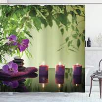 """Ambesonne Spa Shower Curtain, Stones Aromatic Candles and Orchids Blooms Treatment Vacation, Cloth Fabric Bathroom Decor Set with Hooks, 84"""" Long Extra, Green Purple"""