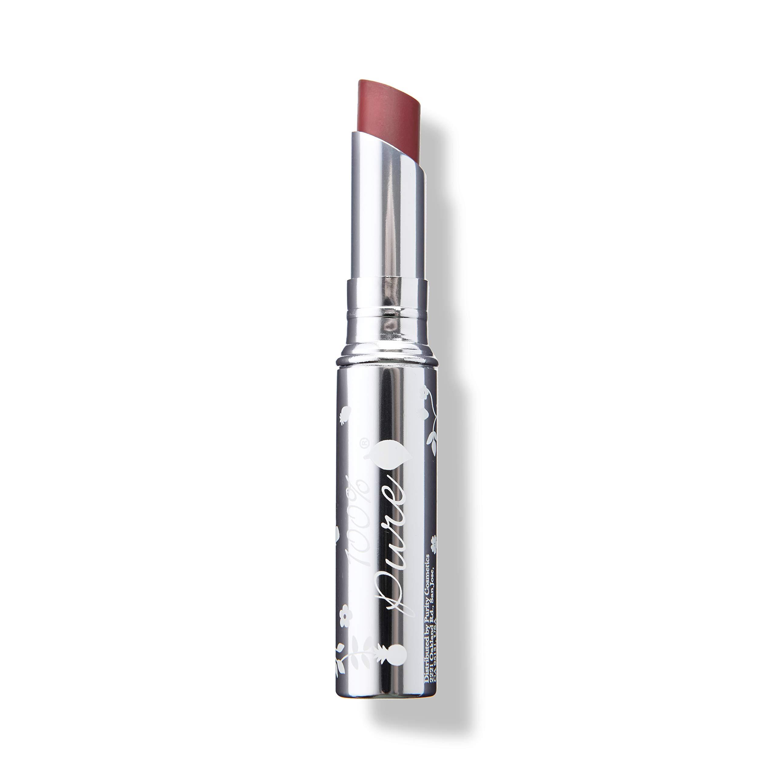 100% PURE Lip Glaze, Coquette, Tinted Lip Balm, With Cocoa Butter, Vitamin E, Lip Moisturizer, Natural Lip Balm (Dusty Rose Nude Color) - 0.088 oz