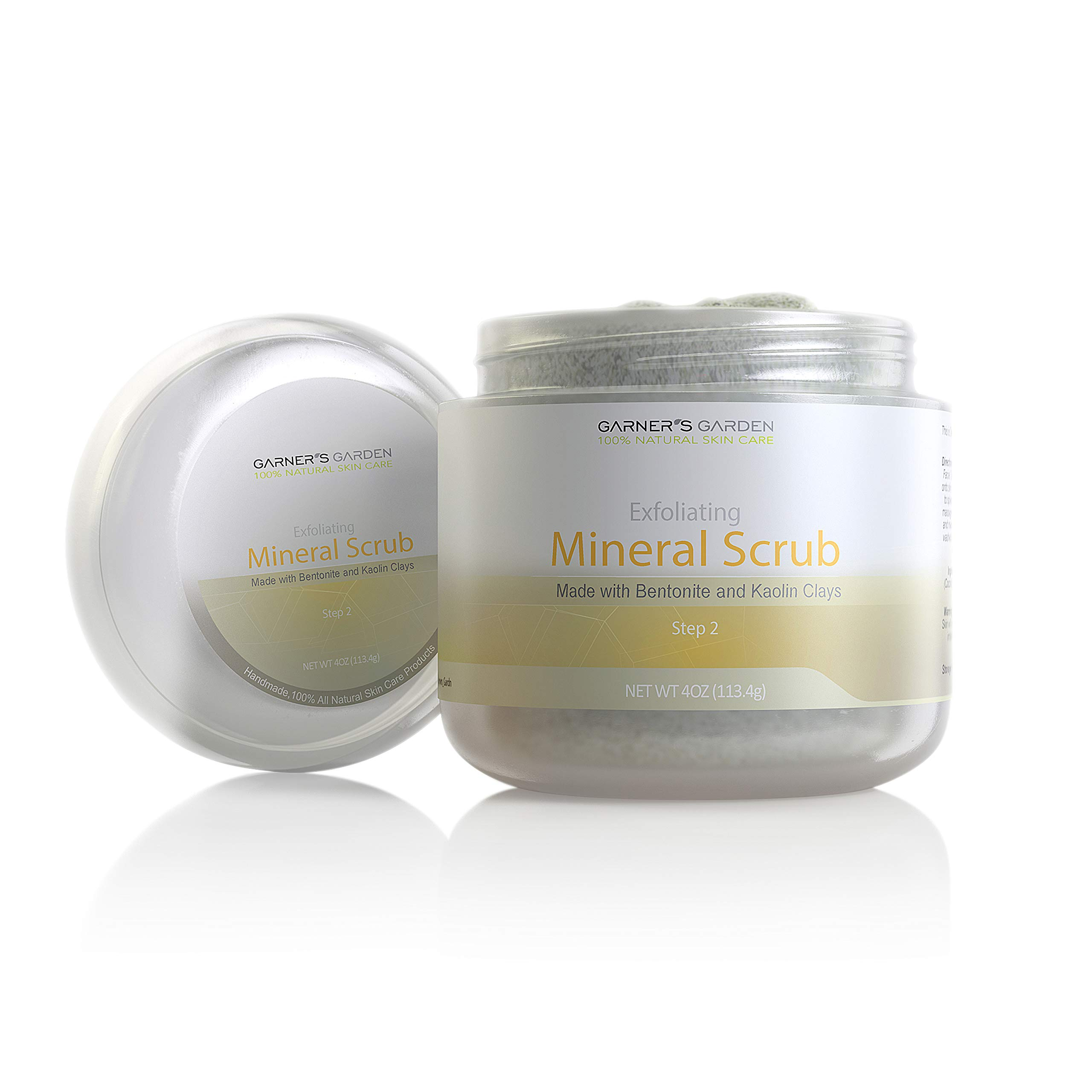 Garner's Garden Exfoliating Mineral Scrub 4 oz - Handmade, All Natural Ingredients, Made with Bentonite and Kaolin Clay to Exfoliate Face and Body, Coconut and Palm Oil to Seal/Protect Skin