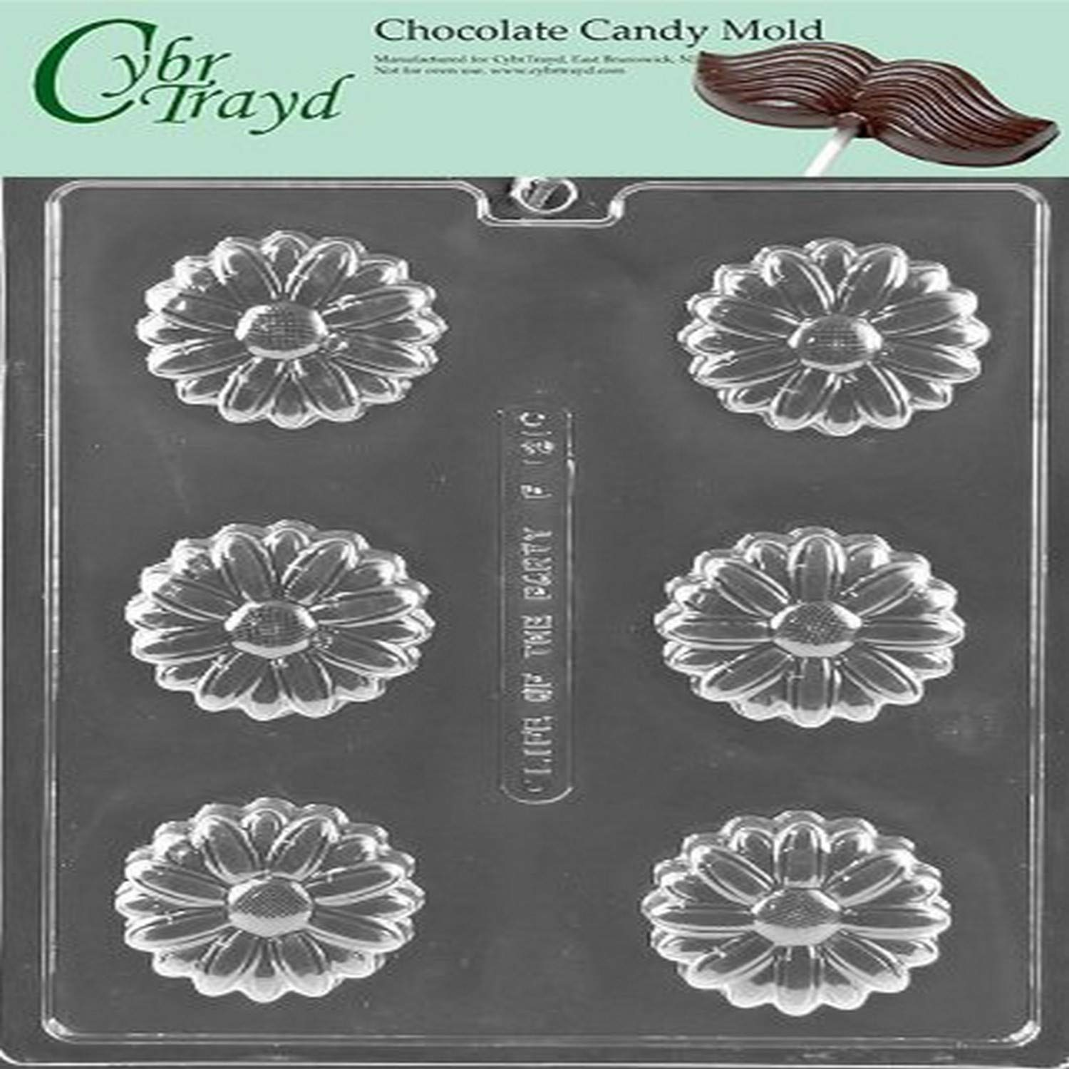 Cybrtrayd Life of the Party F121 Daisy Cookie Flower Soap Chocolate Candy Mold in Sealed Protective Poly Bag Imprinted with Copyrighted Cybrtrayd Molding Instructions