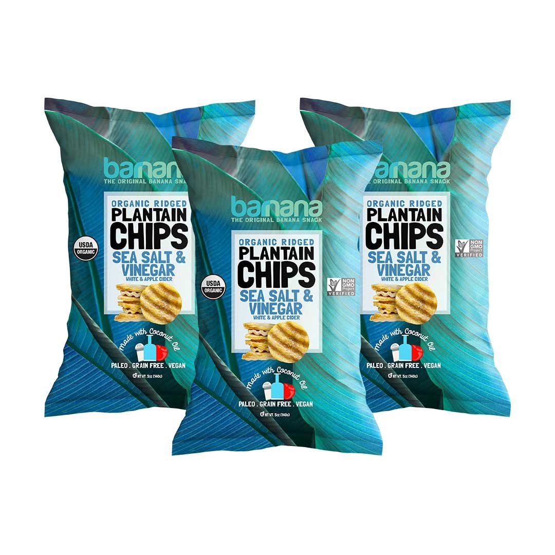 Barnana Organic Plantain Chips - Salt & Vinegar - 5 Ounce, 3 Pack Plantains - Barnana Salty, Crunchy, Thick Sliced Snack - Best Chip For Your Everyday Life - Cooked in Premium Coconut Oil