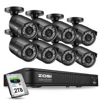 ZOSI H.265+ 5MP PoE Home Security Camera System, 8 Channel PoE NVR Recorder with 2TB HDD for 24/7 Recording, 8X 5MP Weatherproof IP PoE Cameras Outdoor Indoor,120ft Night Vision, Remote Access