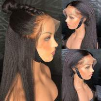 Kinky Straight Lace Front Wig, MSGEM 150 Density Yaki Kinky Human Hair Wig Brazilian Kinky Straight Lace Front Wig(10 Inch Natural Color)