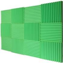 "12 Pack Acoustic Panels Studio Foam Wedges 1"" X 12"" X 12"" lime green (Hi liter Green)"