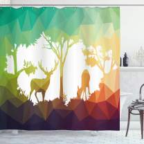 "Ambesonne Africa Shower Curtain, Fractal Deer Family Geometric Cut Shapes Hunt Adventure Themed Desert Eco Graphic, Cloth Fabric Bathroom Decor Set with Hooks, 75"" Long, Teal Orange"