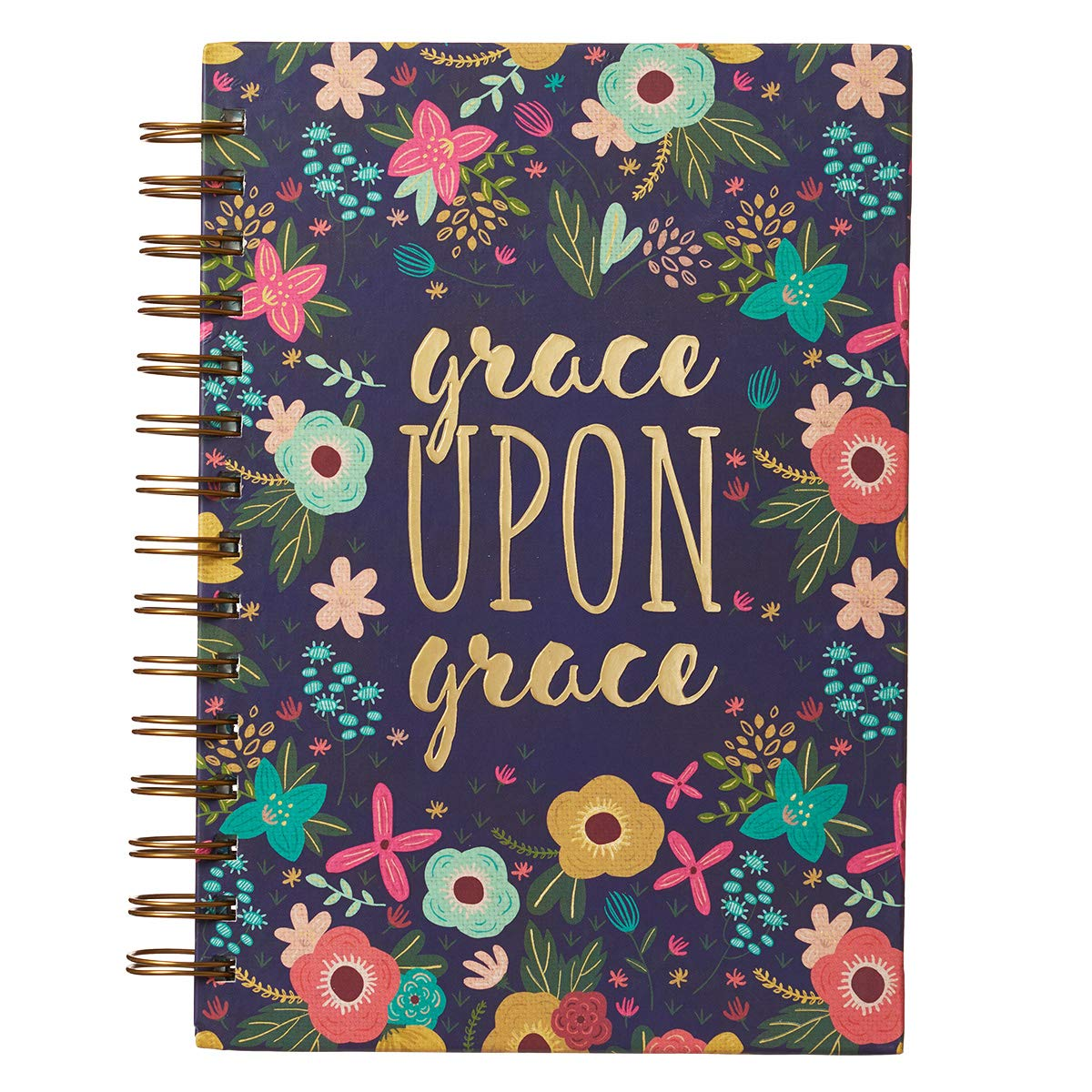 """Christian Art Gifts Large Hardcover Notebook/Journal   Grace Upon Grace – John 1:16 Bible Verse   Pink Floral Inspirational Wire Bound Spiral Notebook w/ 192 Lined Pages, 6"""" x 8.25"""""""