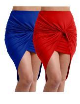 NE PEOPLE Women's high Low Hem line Bodycon Shirred Side Skirt