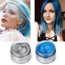 2 Colors Hair Color Wax-2 in 1 Blue Gray-Temporary Hair Dye Wax Unisex Natural Hairstyle Pomade for Party, Cosplay(Blue+Gray)