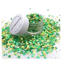 Biodegradable Glitter Chunky Glitter for Festivals. Eco Friendly Body Glitter for Hair Glitter, Nail Glitter, Face Eyeshadow glitter, Rave accessories, Holographic glitter makeup (Green Gold)