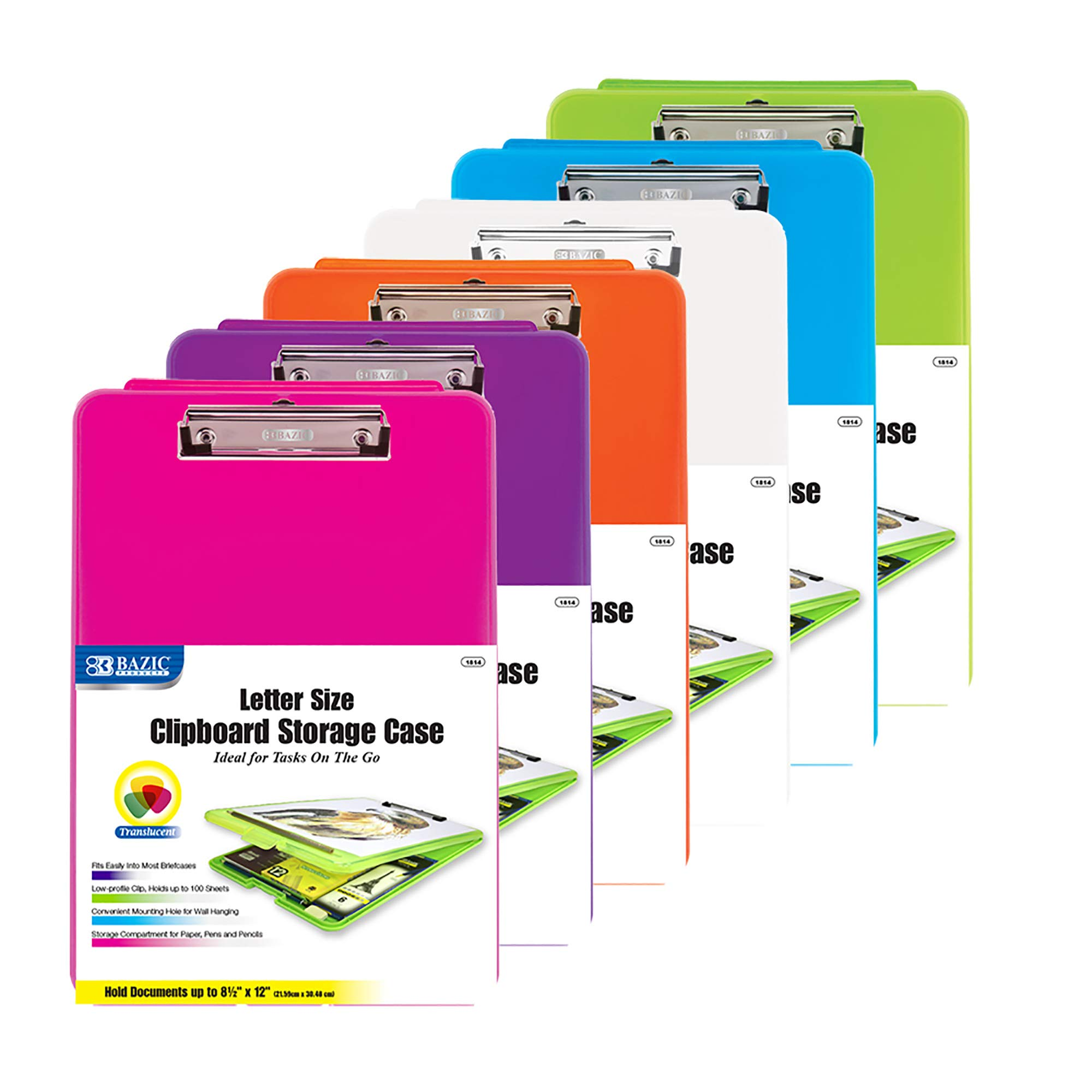 BAZIC Translucent Clipboard Paperboard Storage Case, Assorted 6 Color A4 Letter Size Plastic Briefcases Box Open Foldable, Business Travel School Teacher Artist Student College (Set of 6)