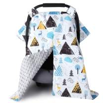 Baby Car Seat Covers for Boys Girls, Metplus 2 in 1 Infant Carseat Canopy Nursing Breastfeeding Cover, Newborn Shower Gift Carrier Cover with Peekaboo Opening, Warm Minky - Deer