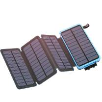 Solar Charger 25000mAh with 4 Solar Panels, IXNINE Solar Power Bank with 2 USB Output Waterproof External Battery Pack Phone Charger, Ultra Bright LED Flashlights for Outdoor Camping