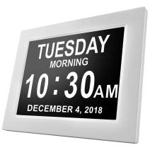 [Newest Version] American Lifetime Day Clock - Extra Large Impaired Vision Digital Clock with Battery Backup & 5 Alarm Options (White Finish)