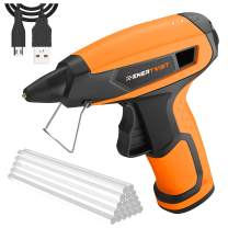Enertwist 4V Cordless Hot Glue Gun Kit w/ 20 Pcs Glue Sticks, 15s Fast Heating, 2.5Ah Rechargeable Lithium Battery Powered, Auto Power-Off, Anti-Drip, Long Lasting, Metal Stand & USB Charger, ET-CGG-4