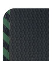 """M+A Matting 424 Nitrile Rubber Hog Heaven Anti-Fatigue Mat with Green Striped Border, 6' Length x 4' Width x 7/8"""" Thick, for Dry Areas"""