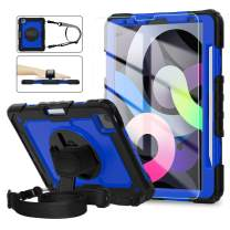 iPad Air 4 Case 10.9 Inch, iPad Pro 11 Case 2020 & 2018, [360° Rotatable Kickstand & Hand Strap] ambison Full Body Protective Case with Tempered Glass Screen Protector, Shoulder Strap (Blue & Black)