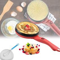 """8"""" Electric Crepe Maker Nonstick Crepe Pan Portable Mini Household Pancake Machine with Batter Bowl & Egg Whisk for Crepes,Pancakes,Tortillas,Gifts for Women"""
