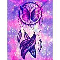 SKRYUIE 5D Full Drill Diamond Painting Purple Star Dream Catcher for Kids Adults by Number Kits, Paint with Diamonds Embroidery Set DIY Craft Arts Decorations (12x16inch)