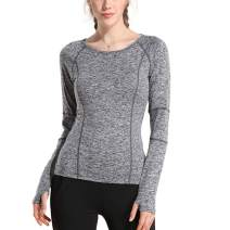 Women Running Yoga Shirts Cute Long Sleeve Moisture Wicking Tops with Thumb Holes