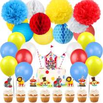 Kreatwow Carnival Circus Party Decorations Supplies for Birthday Circus Animals Clown Cake Toppers for 1st 2nd Birthday