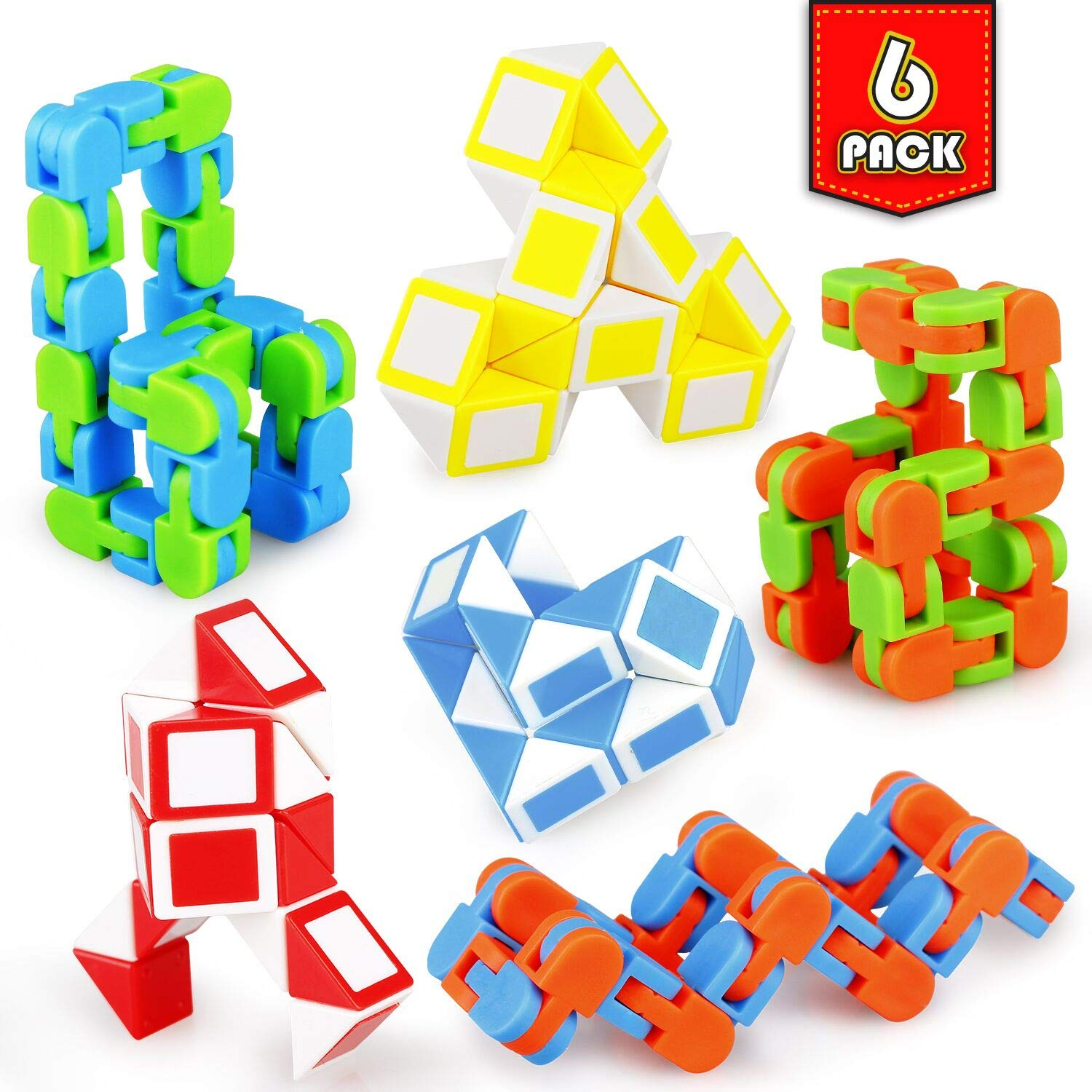 Ganowo 6 Pack Fidget Snake Cube Easter Basket Stuffers Party Favors Classroom Rewards Prizes Goody Bag Fillers for Kids Toddlers Teens