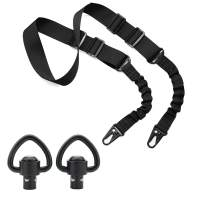 ZONEBIKE Two Points Sling with Length Adjuster Adjustable Sling with Hook and QD Swivels for Hunting 2 Pcs Sling 2 Pcs swivels mounts