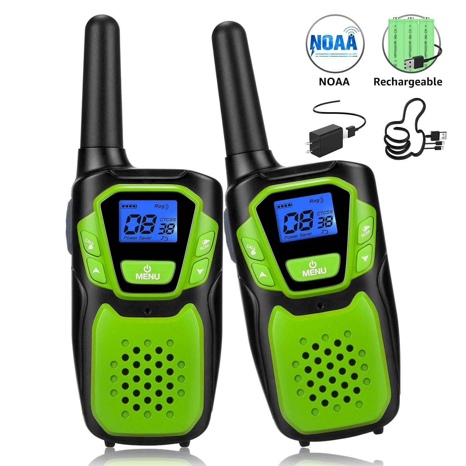 Walkie Talkies for Kids, Funny Talking Toy for 3-12 Years Old Boys and Girls, Easy to Use Rechargeable Walky Talky Christmas Birthday Gift for Hiking Camping Trip Adventure (Green 2 Pack)