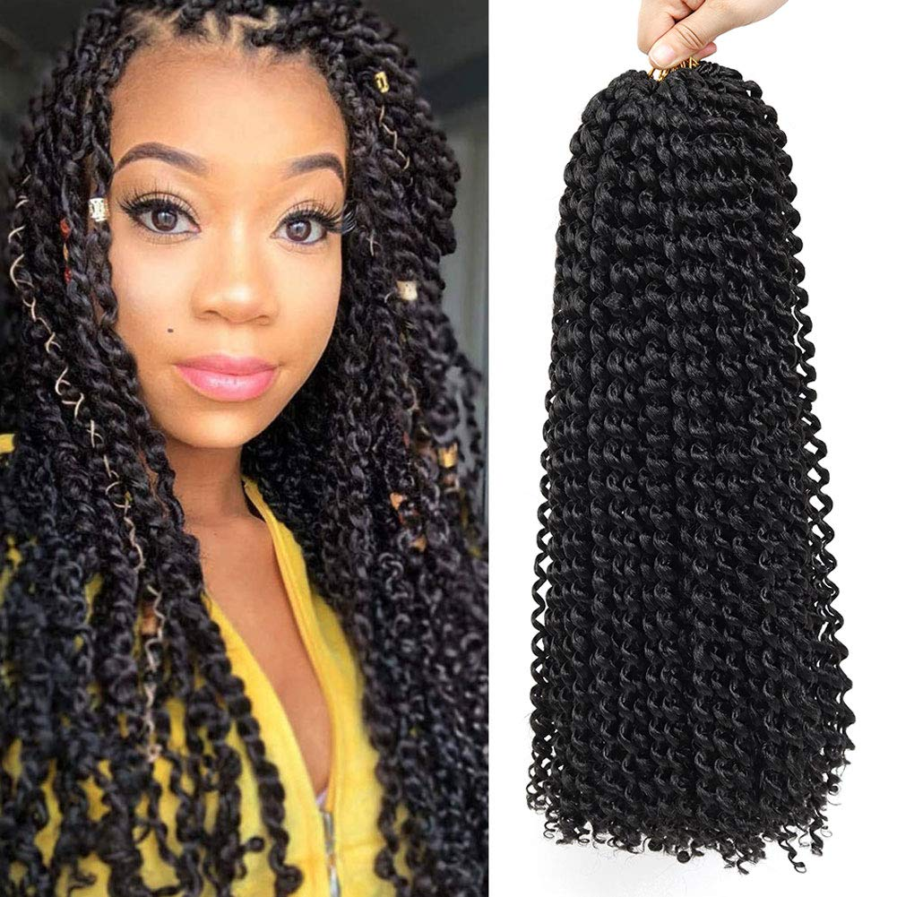 22 Inch 7 Packs Passion Twist Hair Long Inch Crochet Braids Hair Water Wave for Passion Twist Braiding Hair Extensions (1B)