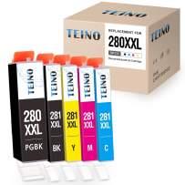 TEINO Compatible Ink Cartridges Replacement for Canon PGI-280XXL CLI-281XXL 280 XXL 281 XXL (PGBK, Black Cyan Magenta Yellow, 5 Pack)