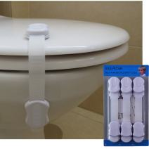 Safety Lock, Baby Proof, Adjustable Straps and Latch System, for Cabinets, Drawers, Toilet Seat and more | Bonus 3M Adhesive | White color | No Drilling | 6 Pack | Free Ebook | By Shik Active