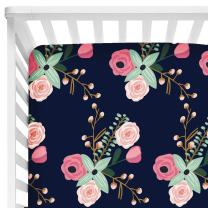 "Baby Floral Fitted Crib Sheet for Boy and Girl Toddler Bed Mattresses fits Standard Crib Mattress 28x52"" (Navy Lilac)"