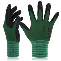 DEX FIT Gardening Work Gloves FN320, 3D Comfort Stretch Fit, Power Grip, Thin Lightweight, Durable Foam Nitrile Coating, Machine Washable, Forest Green Medium 3 Pairs Pack