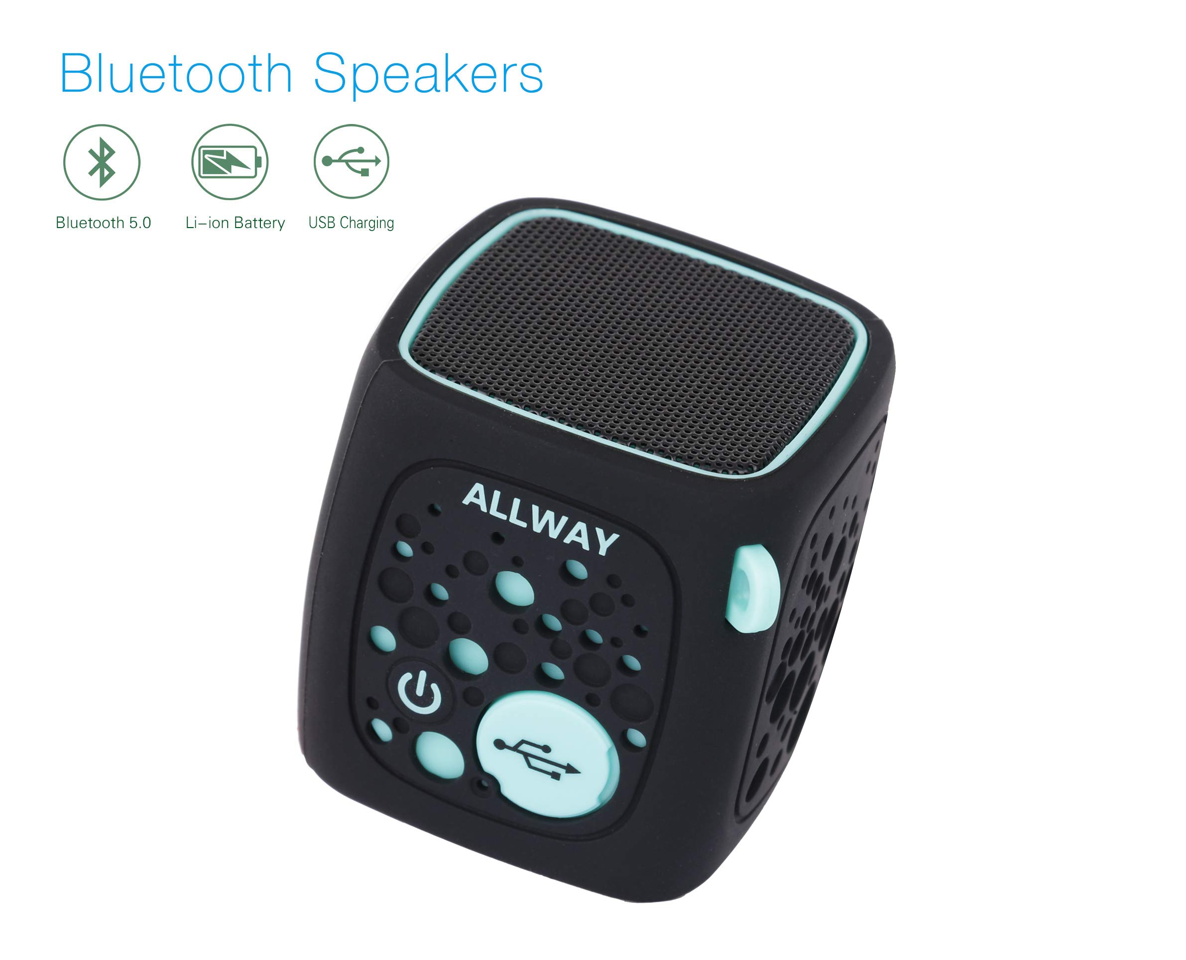 Small Bluetooth Speaker,ALLWAY Ultra Compact Mini Portable Bluetooth Speakers with Loud Stereo Sound,Rich bass,TF Card Port,164 Feet Bluetooth 5.0 Range for Laptop,iPhone,Echo,Car and More